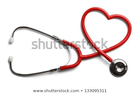 mano · estetoscopio · corazón · masculina · rojo - foto stock © andreypopov