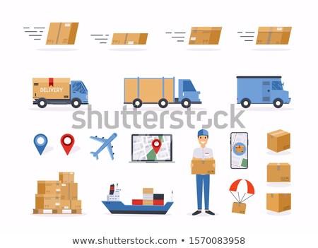 loader hold empty box. Isolated 3D image. Stock photo © ISerg