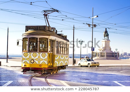 lisbon tram in praca do comercio district lisbon stock photo © photooiasson