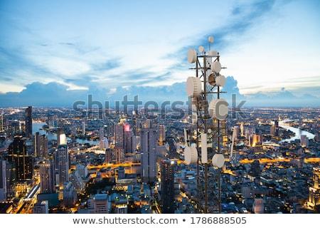 Mikrodalga kule mavi gökyüzü teknoloji mavi anten Stok fotoğraf © njnightsky