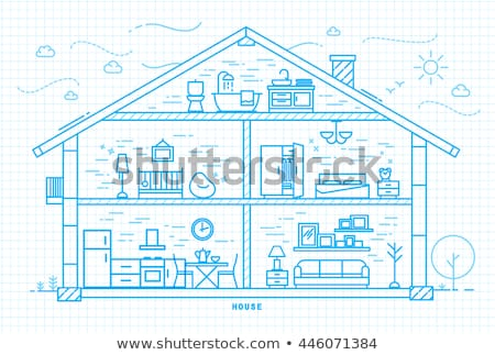 House Equipments Square Vector Blue Icon Design Set Stock photo © rizwanali3d