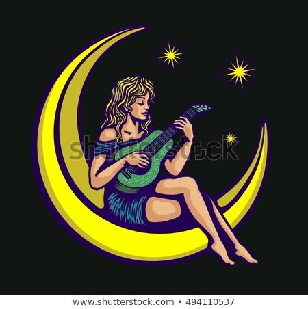gitáros · lány · éjszaka · város · nő · szexi - stock fotó © dashapetrenko