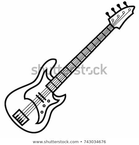 электрических бас гитаре коричневый изолированный белый Сток-фото © Kayco