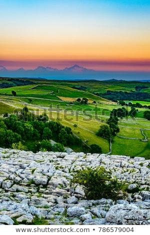 Calcário calçada yorkshire paisagem azul viajar Foto stock © chris2766