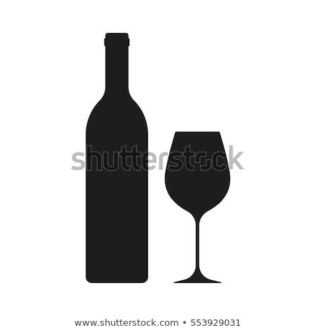 preto · vidro · vinho · videira · salgueiro · isolado - foto stock © netkov1