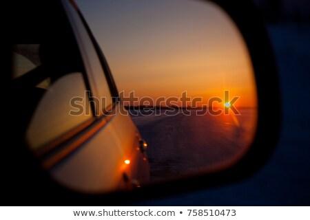 auto · vista · posteriore · specchio · primo · piano · panorama · paese - foto d'archivio © bigalbaloo