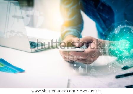 écran · tactile · mobiles · Homme · mains - photo stock © stevanovicigor