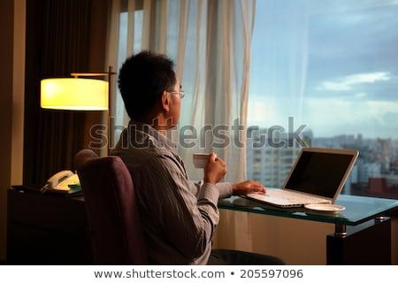вечер мнение номер в отеле бизнеса древесины кофе Сток-фото © AntonRomanov