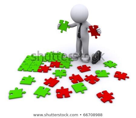 Human Rights on Green Puzzle. Stock photo © tashatuvango