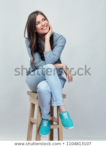 Teljes alakos portré csinos lány ül bár Stock fotó © deandrobot