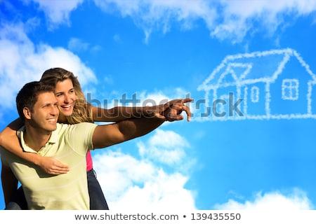 sueno · casa · nube · sol · collage · madera - foto stock © Paha_L