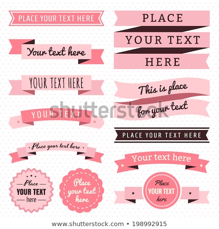 Stock photo: Ribbons vintage vector set in light and dark pink and brown colors