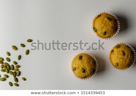 zoete · pompoen · muffins · witte · voedsel · achtergrond - stockfoto © digifoodstock