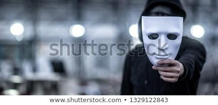 Terrorista fekete maszk illusztráció vektor Stock fotó © derocz