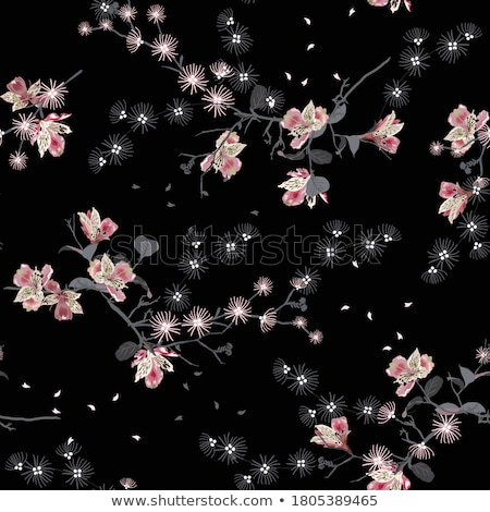 vektör · siyah · beyaz · uçan · kuşlar · bulutlar · gökyüzü - stok fotoğraf © lilac
