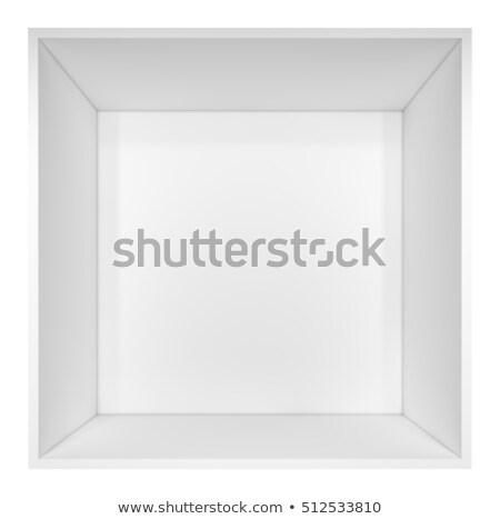 empty clean isolated white bookshelf or box stock photo © cherezoff