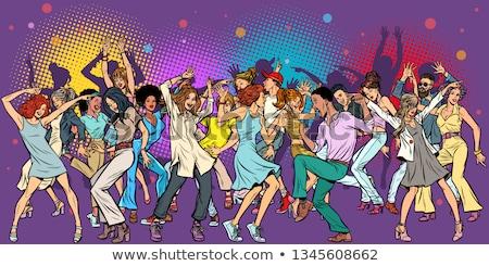 Retro férfi nő tánc pop art vektor Stock fotó © studiostoks