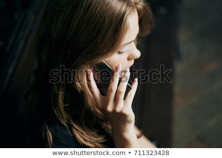 portré · nő · portré · fiatal · nő · elöl · szürke - stock fotó © keeweeboy