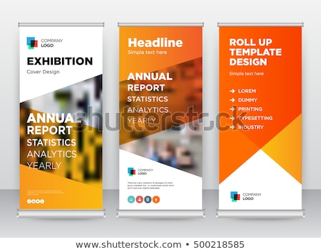 Blue Roll up banner stand template, stand design,banner template Stock photo © ganpanjanee
