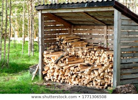 Tűzifa köteg szabadtér zöld fű kék ég fa Stock fotó © simply