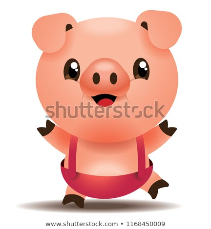 Adorable little pink pig in dungarees Stock photo © adrian_n