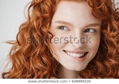megszégyenített · nő · harap · ajak · fogak · fej - stock fotó © lubavnel