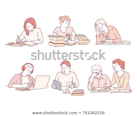 商业照片 / 矢量图: 简单 · 素描 · 学生 · 阅读 · 写作 · 插图