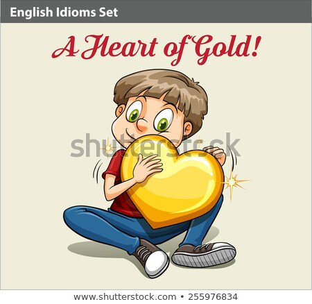 A boy with a golden heart idiom Stock photo © bluering