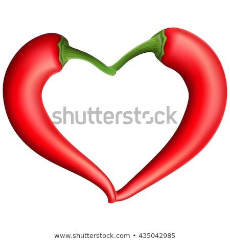 Stock photo: Red chili pepper heart. EPS 10