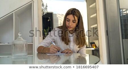 карандашом · Дать · белый · бумаги · улыбка · древесины - Сток-фото © joannawnuk