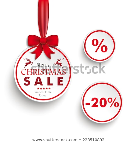 Red Christmas Baubles Red Ribbons Percents Circle Sticker Stock photo © limbi007