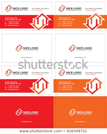 Kettő házak névjegy piros szürke színek Stock fotó © VadimSoloviev