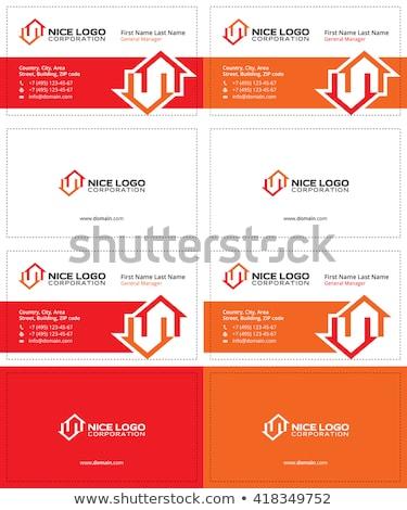 Dos casas tarjeta de visita rojo gris colores Foto stock © VadimSoloviev