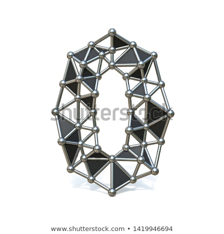 Metal lattice digit number ZERO 0 3D Stock photo © djmilic