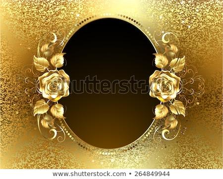 Iki afişler altın güller siyah çiçek Stok fotoğraf © blackmoon979