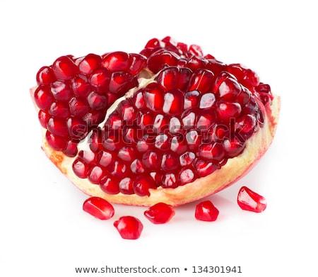 granada · aislado · blanco · alimentos · hoja · frutas - foto stock © deandrobot