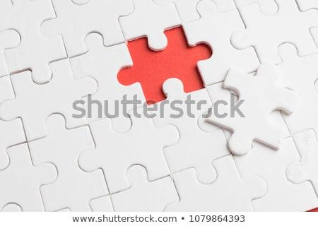 Czerwony puzzle kawałek 3d ilustracji metaliczny streszczenie Zdjęcia stock © Spectral