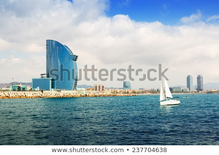 gyönyörű · Barcelona · tengerpart · panoráma · naplemente · óceán - stock fotó © artjazz