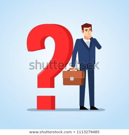 young businessman thinking vector illustration stock photo © rastudio