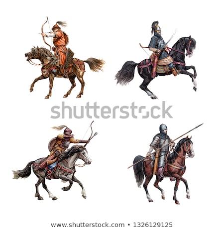 Middeleeuwse koning paardenrug vol pantser paard Stockfoto © Dazdraperma