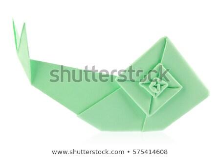 зеленый саду улитки оригами изолированный белый Сток-фото © brulove