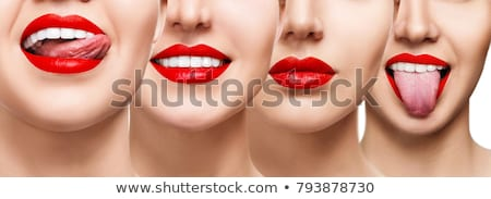 Stock photo: Laughing female mouth with red lips