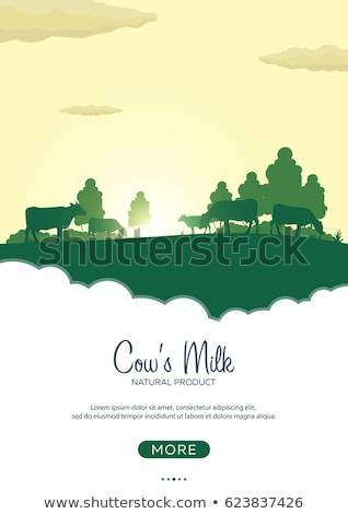Poster Fresh Milk natural product. Rural landscape with mill and cows. Dawn in the village. Stock photo © Leo_Edition