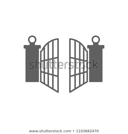 Stile illustrazione open cancello isolato bianco Foto d'archivio © curiosity