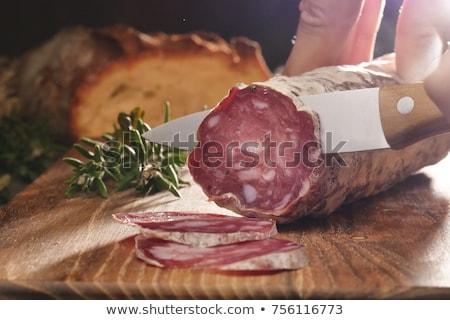 Szeletel szalámi kolbász fehér étel hús Stock fotó © Digifoodstock