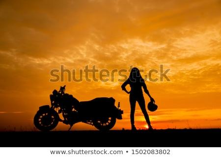 Mujer motocicleta mujer sexy gafas de sol sesión Foto stock © derocz