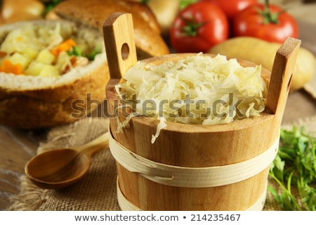 White sausage with sour cabbage Stock photo © brebca