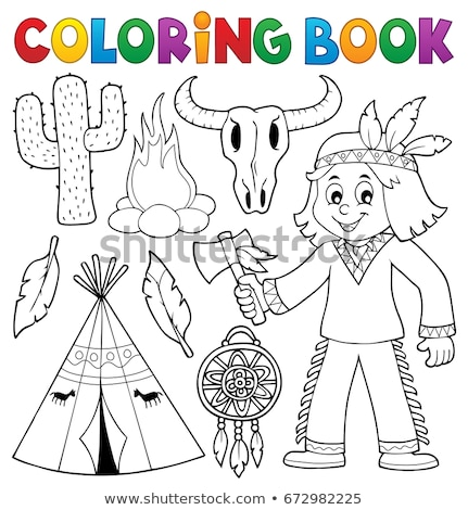 Coloring book Native American theme 2 Stock photo © clairev