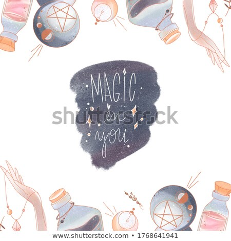 Mystical Arts - modern drawn square postcard. Stock photo © Decorwithme