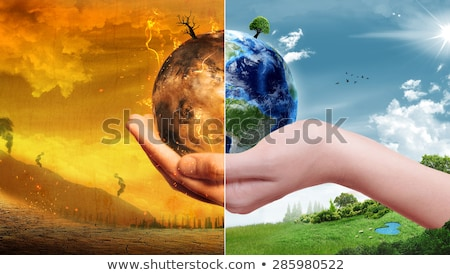 Réchauffement climatique terre forme thermomètre blanche 3d illustration Photo stock © make